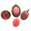 Cabochon sticla cat eye roz intens 25*18mm