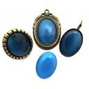 Cabochon sticla cat eye albastru intens 01 25*18mm