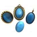 Cabochon sticla cat eye albastru intens 02 25*18mm
