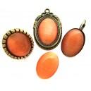 Cabochon sticla cat eye portocaliu 25*18mm