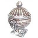 Bomboniera din ceramica mic cu capac maro+argintiu 25*15cm