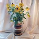 DISPONIBIL 1 BUCATA - XCER03 - Vas ceramica cu dungi nuante maro 27cm