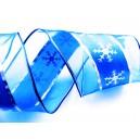 (1 metru) Panglica albastra cu fulgi argintii 63mm