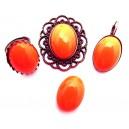 Cabochon rasina rosu portocaliu 25*18mm