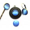 Cabochon sticla cat eye albastru intens 12mm - STOC LIMITAT!!!