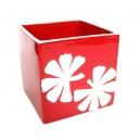 Ghiveci ceramica rosu+frunze albe 11*11*11 cm