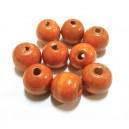 Margele lemn portocaliu prafuit 19*17.5mm - STOC LIMITAT