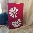 UNICAT - XCER14 - Vaza ceramica rosie cu frunze albe 45*25.5*16.5cm