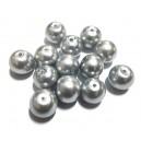 PS12mm-07 - Perle sticla gri aluminiu sfere 12mm