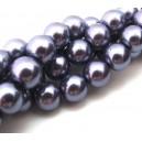 Perle sticla mov pal cu tenta gri sfere 12mm