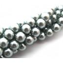 (10 buc.) Perle sticla gri argintiu sfere 8mm