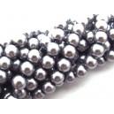 PS8mm-10 - (10 buc.) Perle sticla gri usor movuliu sfere 8mm