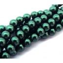 PS8mm-11 - (10 buc.) Perle sticla verde inchis sfere 8mm