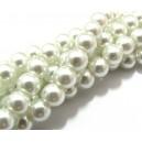(10 buc.) Perle sticla albe sfere 8mm