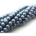 (10 buc.) Perle sticla gri movuliu sfere 6mm