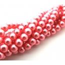 (10 buc.) Perle sticla roz corai 6mm