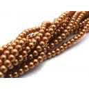(10 buc.) Perle sticla mustar gold sfere 4mm