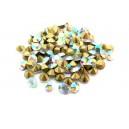 (10 buc.) Strasuri conice cristale albe cu efect AB 5mm