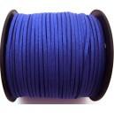(1 metru) Snur faux suede albastru cobalt glitter 3mm