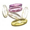 DISPONIBIL 1 SET CU 6 BUCATI - ACR16B - Margele acril fatetate diverse culori 40*15mm