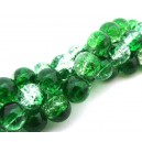 Margele crackle verde si transparent sfere 10mm