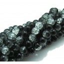 (10 buc.) Margele crackle negru si transparent sfere 6mm