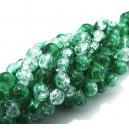 MSCR6mm-57 - (10 buc.) Margele crackle verde si transparent sfere 6mm