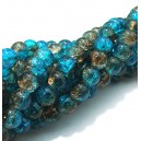 (10 buc.) Margele crackle albastru marin si maro sfere 6mm