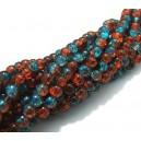 (10 buc.) Margele crackle albastru marin si maro roscat sfere 4mm