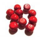 Margele lemn rosii 12*10.5mm
