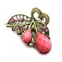 DISPONIBIL 1 BUCATA - AGR41-04 - Agrafa clips fluture bronz auriu+roz 47*32mm