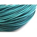(1 metru) Snur piele naturala albastru turcoaz 2mm