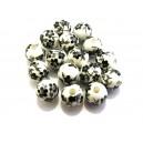 Margele portelan flori negre sfere 10mm