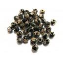 Margele Cloisonne negre sfere 6mm
