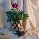 UNICAT - XCER43 - Vas cu capac ceramica tabla de sah 40*16*12.5cm