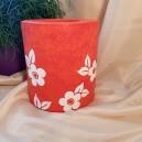 UNICAT - XCER20 - Vaza ceramica rosie cu flori albe 17.5*15*9.5cm