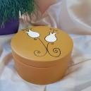 UNICAT - XCER10 - Vas decorativ cu capac ceramica mustar cu lalele 19*6.5cm