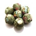 MM02 - Margele imbracate in material textil verde ocru cu flori 20mm