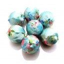 MM04 - Margele imbracate in material textil bleu cu flori 20mm