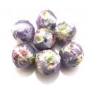 MM05 - Margele imbracate in material textil lavanda cu flori 20mm