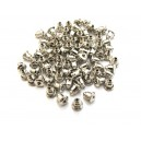 (1 pereche) Dopuri metalice cercei argintiu inchis 6*5mm