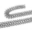 LD15 - (0.50 metri) - Lant decorativ impletit argintiu inchis 12mm
