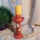 UNICAT - XCER35 - Suport lumanare ceramica rosu indian cu lalele 18*8.5*10.5cm