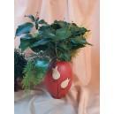 UNICAT - XCER30 - Vaza ceramica rosu indian cu lalele 23*16*6.5cm