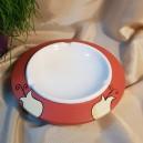 UNICAT - XCER51 - Scrumiera ceramica rosu indian cu lalele 24*5cm